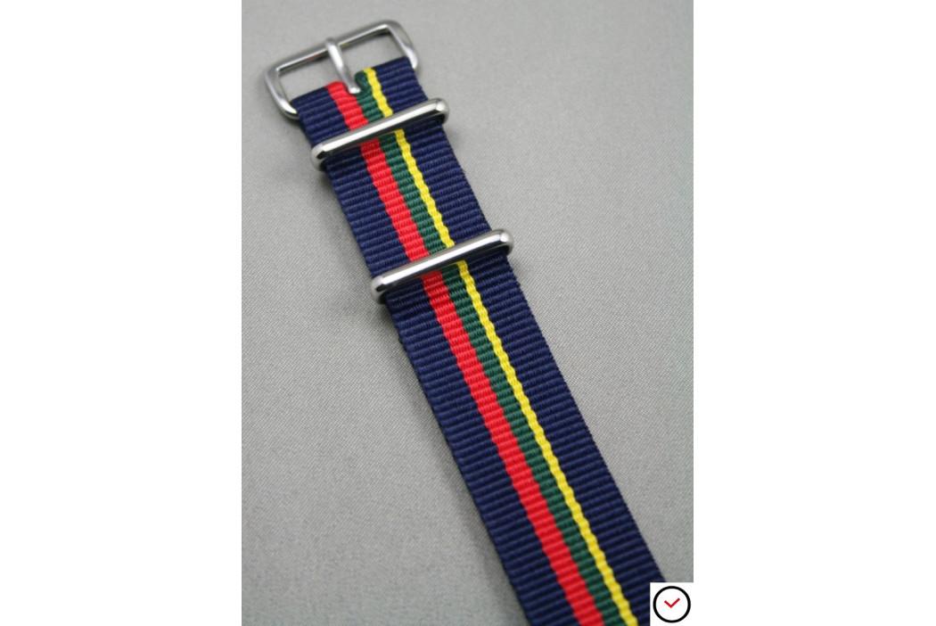 Bracelet nylon NATO Bleu Navy liserés Rouge Vert Jaune