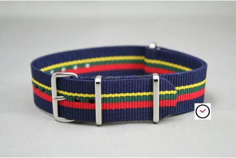 Navy Blue Red Green Yellow NATO watch strap (nylon)