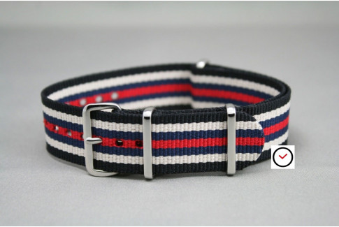 Black White Navy Blue Red NATO watch strap (nylon)