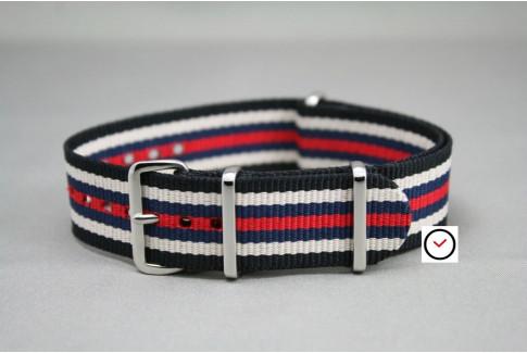 Black White Navy Blue Red NATO watch strap (nylon)