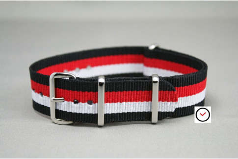 Black White Red NATO watch strap (nylon)