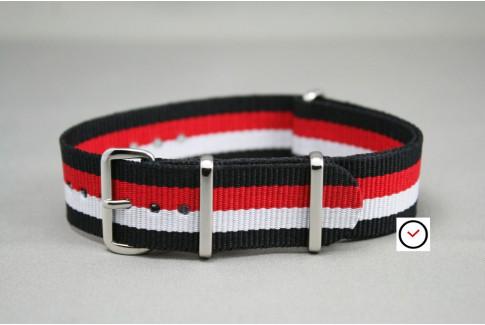 Bracelet nylon NATO Noir Blanc Rouge