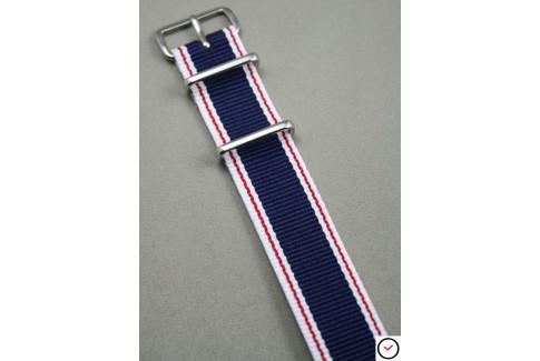 Bracelet nylon NATO Bleu Navy Blanc Rouge