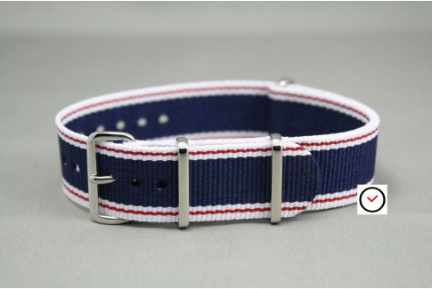 Navy Blue White Red NATO watch strap (nylon)