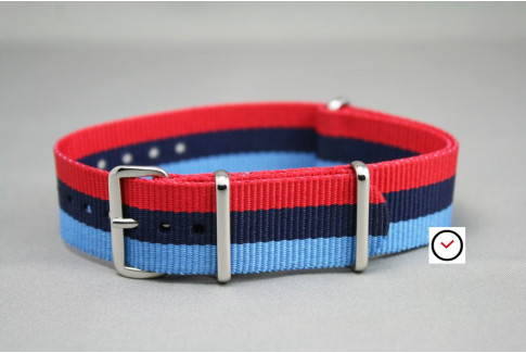 BMW Racing G10 NATO watch strap - Dark, Sky Blue and Red