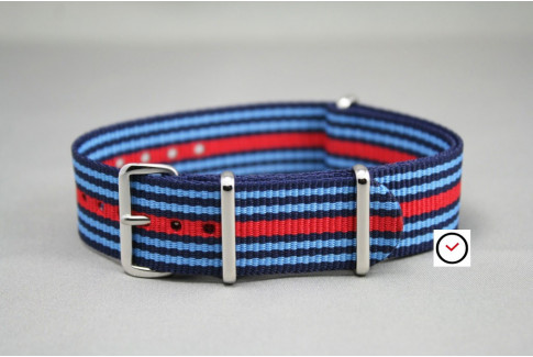 Martini Racing G10 NATO watch strap - Dark, Sky Blue and Red