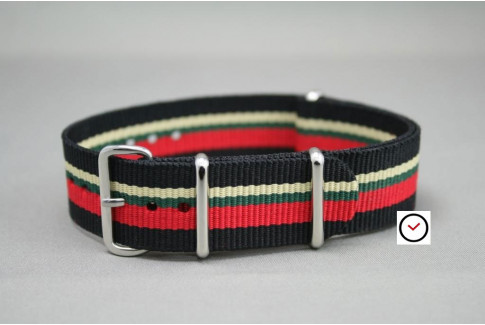 Black Red Green Sandy Beige G10 NATO strap (nylon)