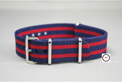 Bracelet nylon NATO Bond Bleu Navy Rouge