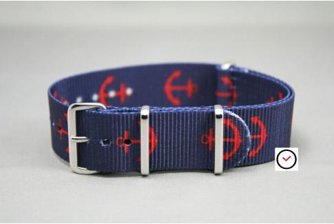 Bracelet nylon NATO Marin (Bleu Marine ancres Rouges)
