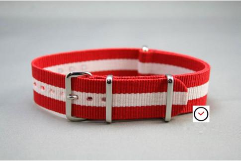 Bracelet nylon NATO Rouge Blanc