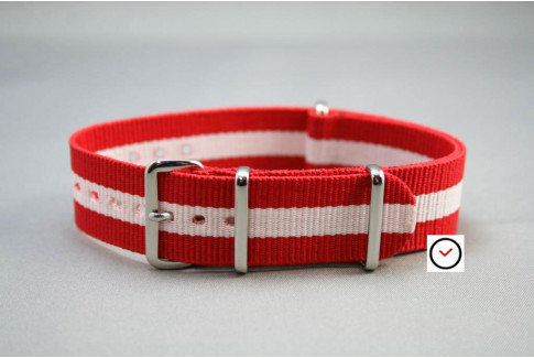 Red White G10 NATO strap (nylon)