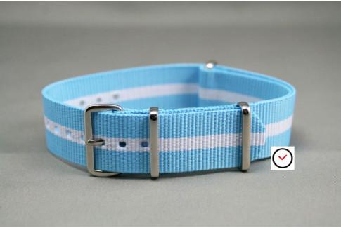Bracelet nylon NATO Bleu Clair liseré Blanc (Racing)