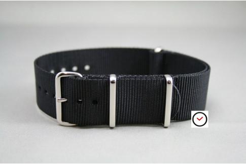 Bracelet nylon NATO Noir, boucle polie