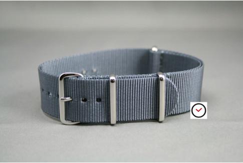 Bracelet nylon NATO Gris, boucle polie