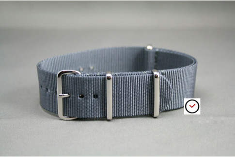 Grey G10 NATO strap, polished buckle and loops