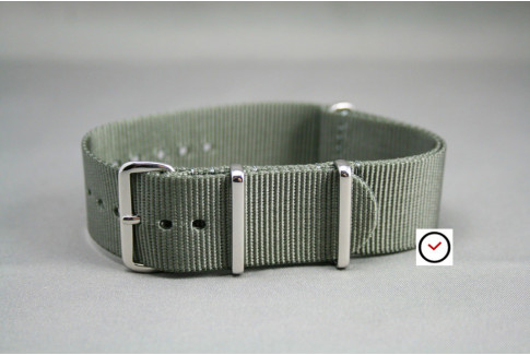 Green Grey G10 NATO strap, polished buckle and loops
