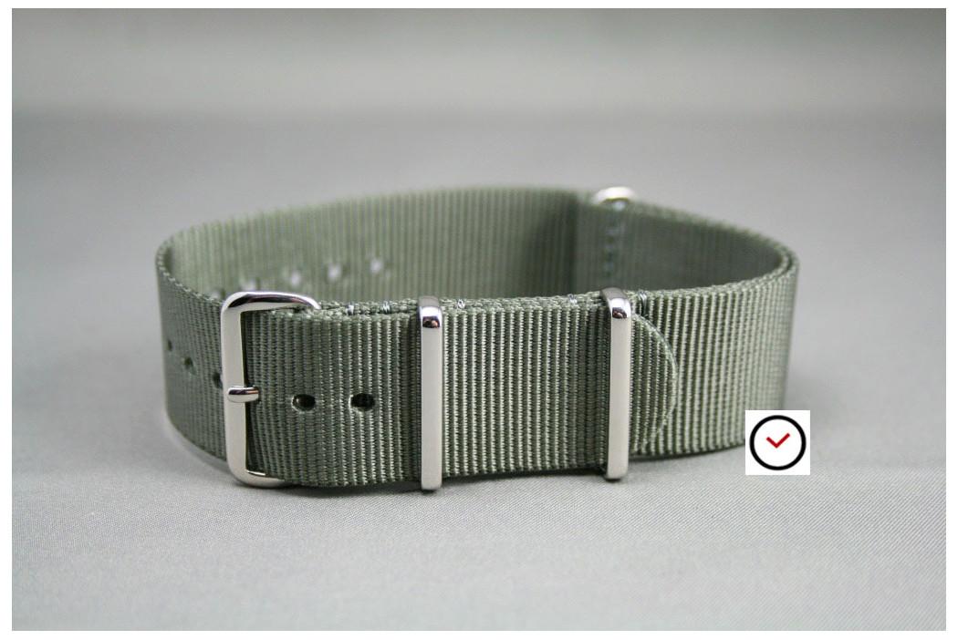 Bracelet nylon NATO Gris Vert, boucle polie