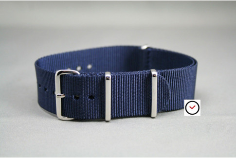 Night Blue G10 NATO strap, polished buckle and loops