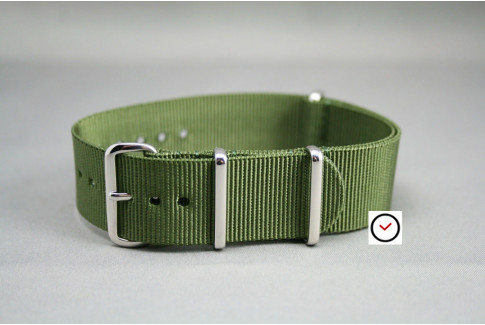 Military Green G10 NATO strap, polished buckle and loops