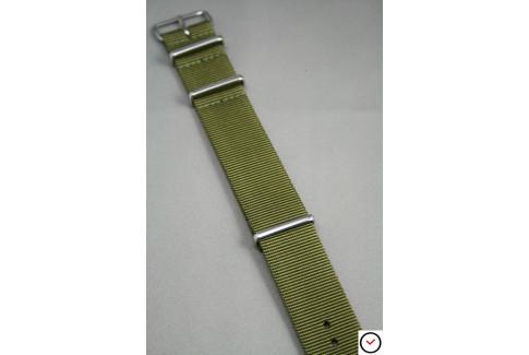 Bracelet nylon NATO Vert Olive, boucle polie