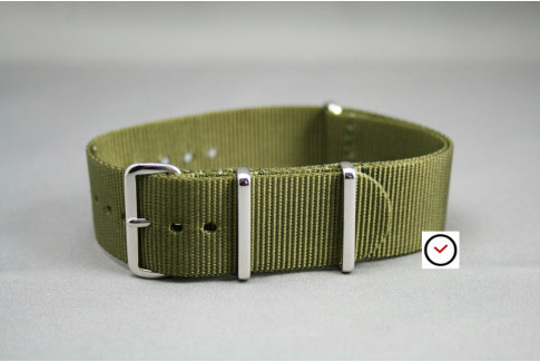 Olive Green G10 NATO strap, polished buckle and loops