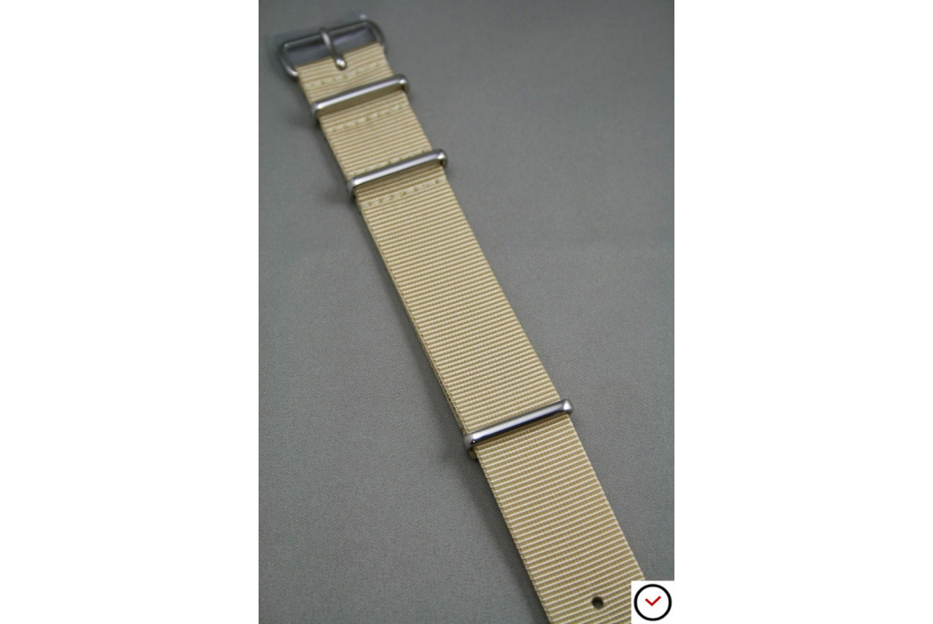 Sandy Beige G10 NATO strap, polished buckle and loops