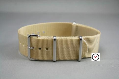 Bracelet nylon NATO Beige Sable, boucle polie