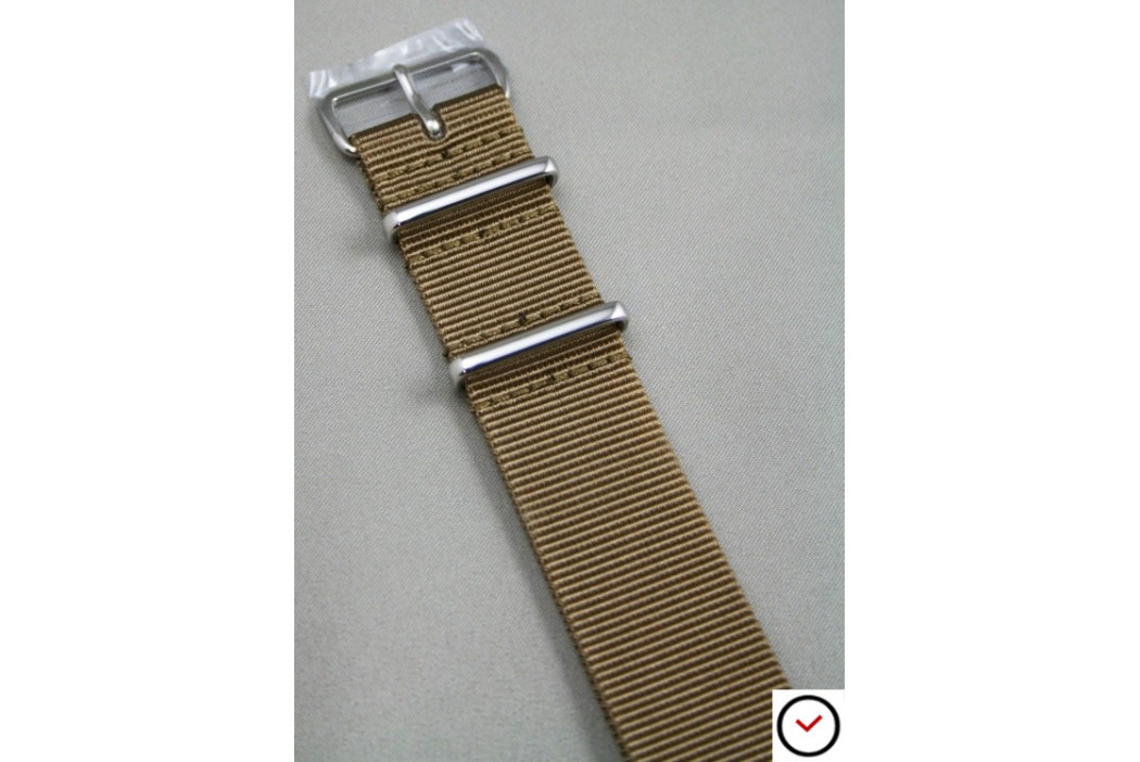 Bracelet nylon NATO Marron Bronze, boucle polie
