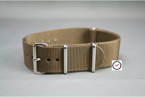 Bracelet nylon NATO Marron Bronze, boucle polie