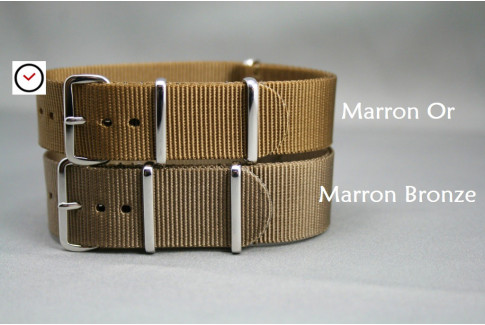 Bronze Brown G10 NATO strap, polished buckle and loops