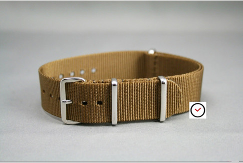 Bracelet nylon NATO Marron Or, boucle polie