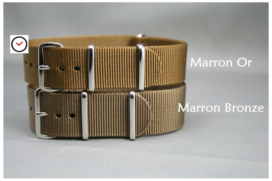 Bracelet nylon NATO Marron Or, boucle polie