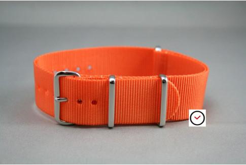 Bracelet nylon NATO Orange, boucle polie
