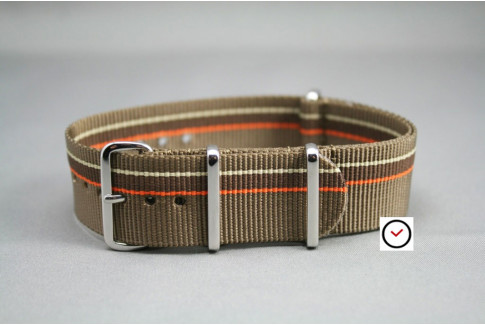 Bracelet nylon NATO Marron Bronze Chocolat & liserés Orange Beige Sable, boucle polie