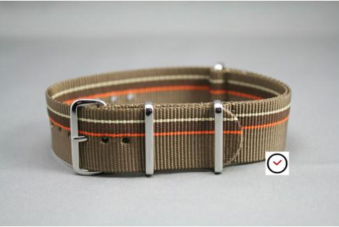 Bracelet nylon NATO Marron Bronze Chocolat & liserés Orange Beige Sable, boucle polie
