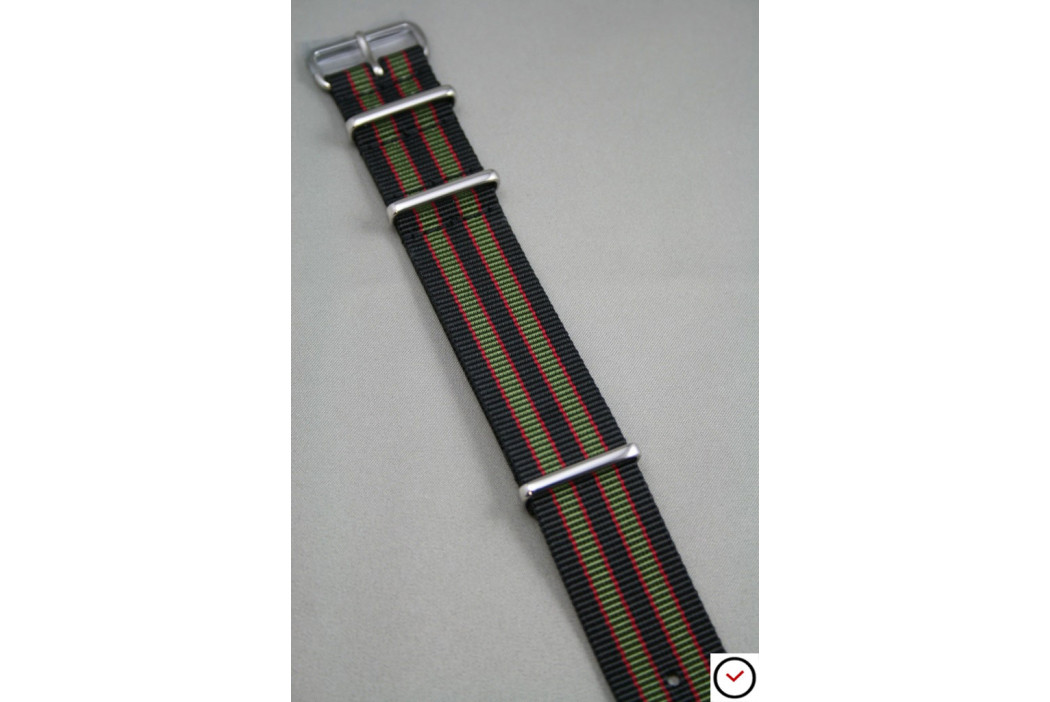 Original Bond G10 NATO strap (Black Green Red), polished buckle and loops