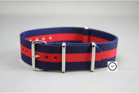 Bracelet nylon NATO Bleu Navy Rouge, boucle polie