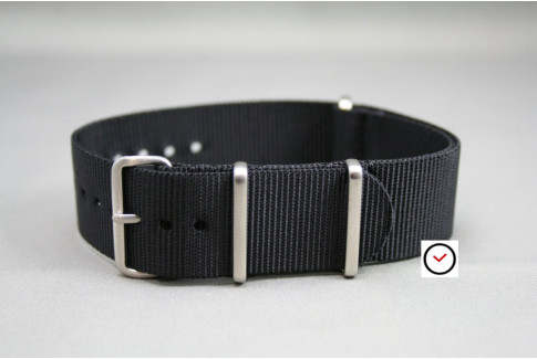 Black G10 NATO strap, brushed buckle and loops