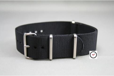 Bracelet nylon NATO Noir, boucle brossée