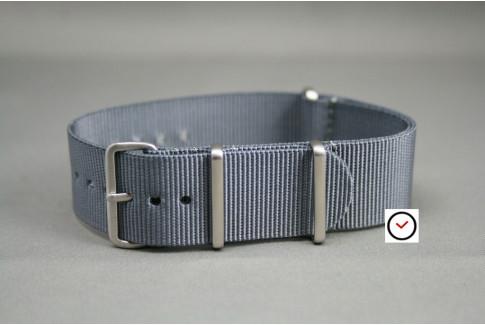 Bracelet nylon NATO Gris, boucle brossée