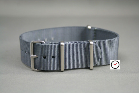 Grey G10 NATO strap, brushed buckle and loops