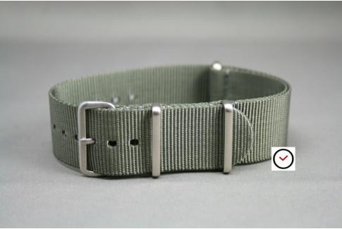 Bracelet nylon NATO Gris Vert, boucle brossée