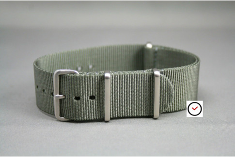 Green Grey G10 NATO strap, brushed buckle and loops