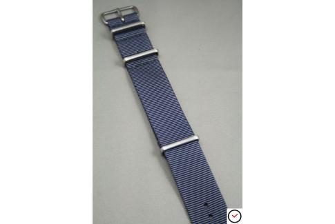 Bracelet nylon NATO Gris Bleu, boucle brossée