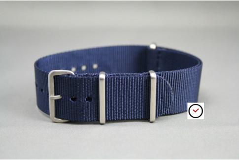 Bracelet nylon NATO Bleu Nuit, boucle brossée