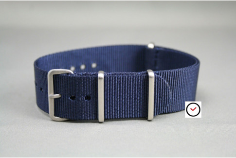 Night Blue G10 NATO strap, brushed buckle and loops