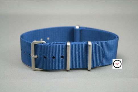 Blue G10 NATO strap, brushed buckle and loops