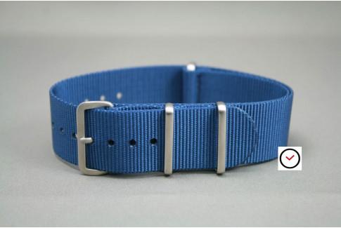 Bracelet nylon NATO Bleu, boucle brossée
