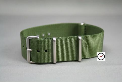 Bracelet nylon NATO Vert Kaki (Militaire), boucle brossée