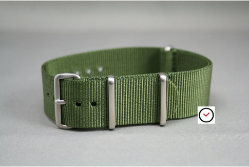 Military Green G10 NATO strap, brushed buckle and loops